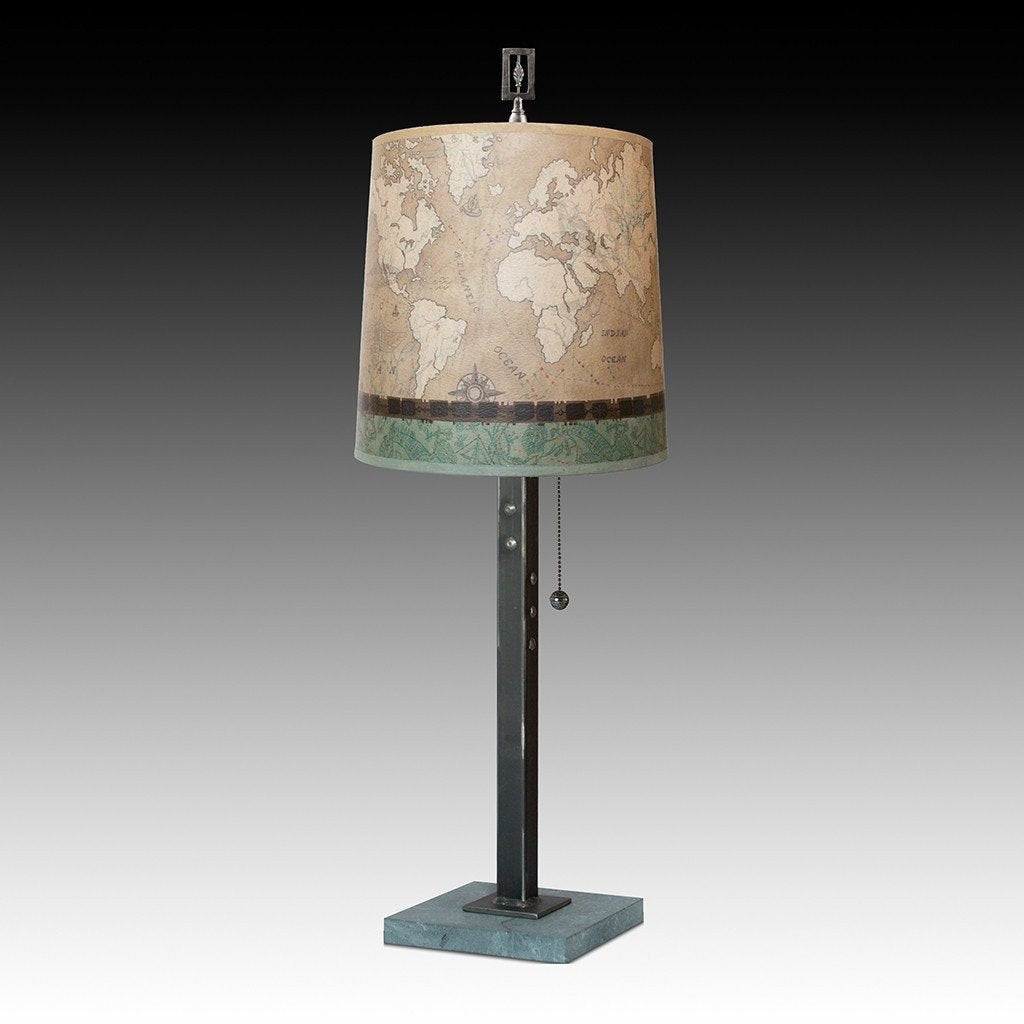 Voyages in Sand Table Lamp with Medium Drum Shade