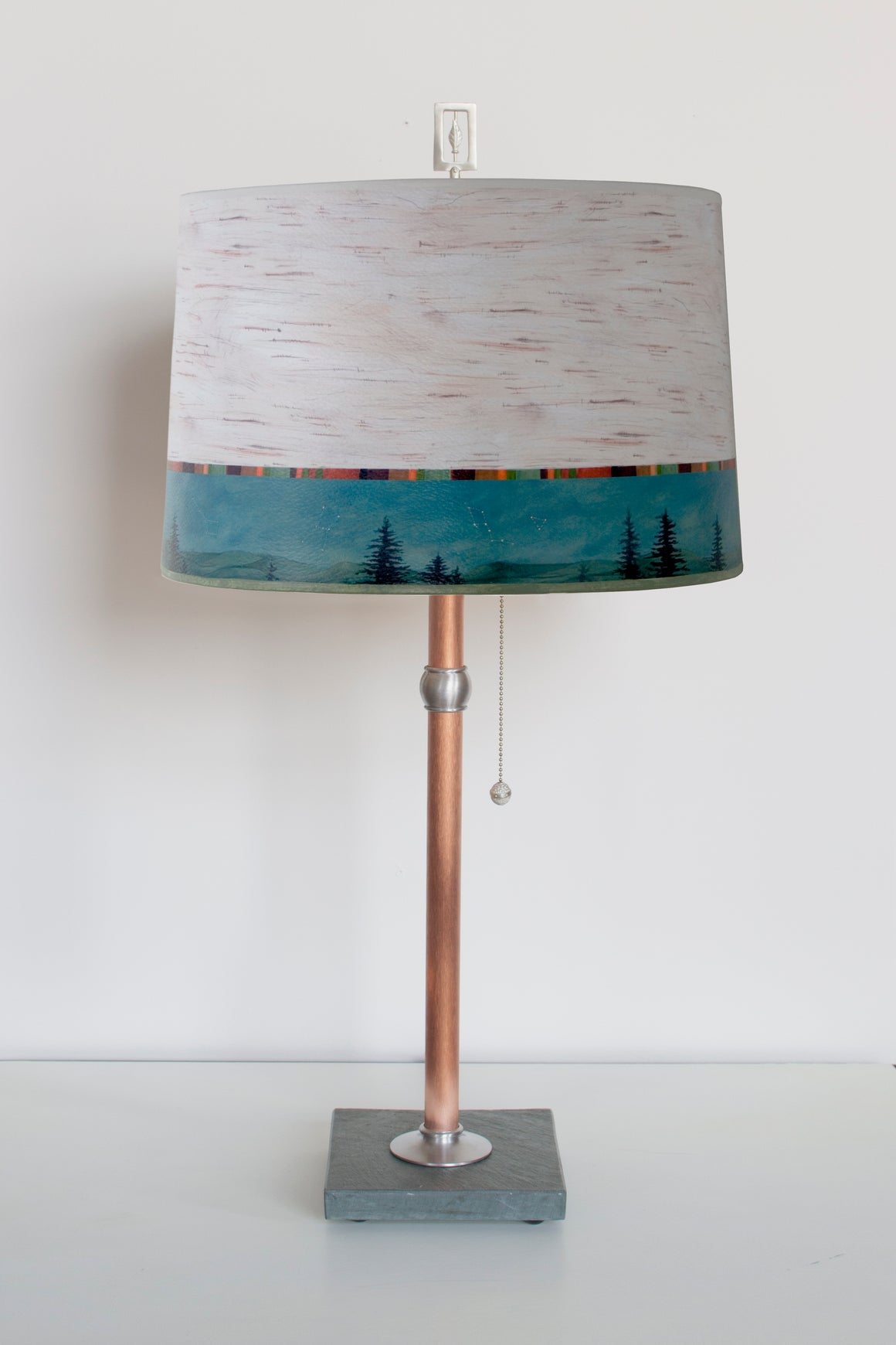 Copper Table Lamp with Large Drum Shade in Birch Midnight