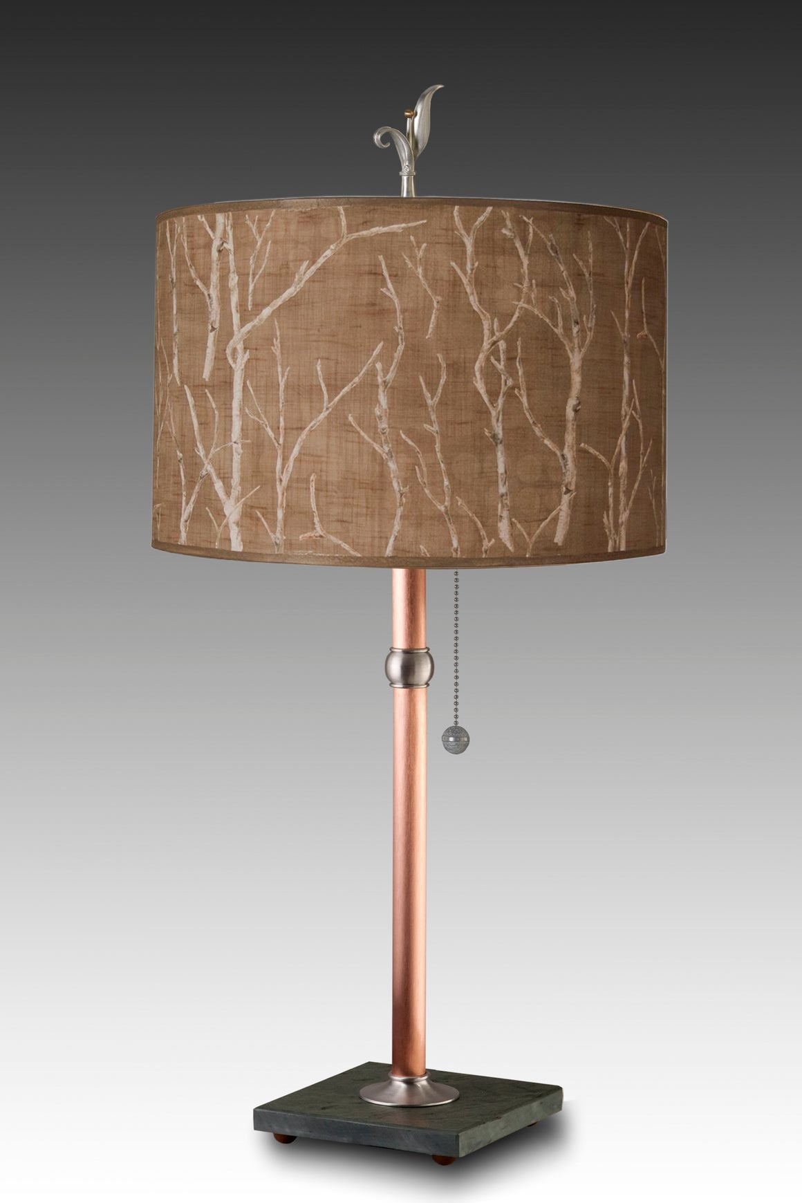 Copper Table Lamp with Large Drum Shade in Twigs