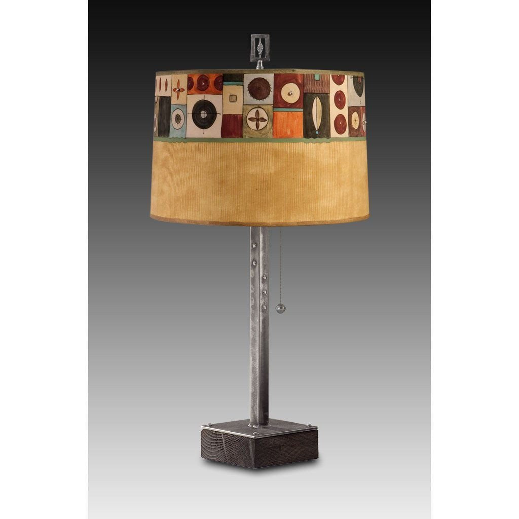 Lucky Mosaic in Hickory Table Lamp with Large Drum Shade