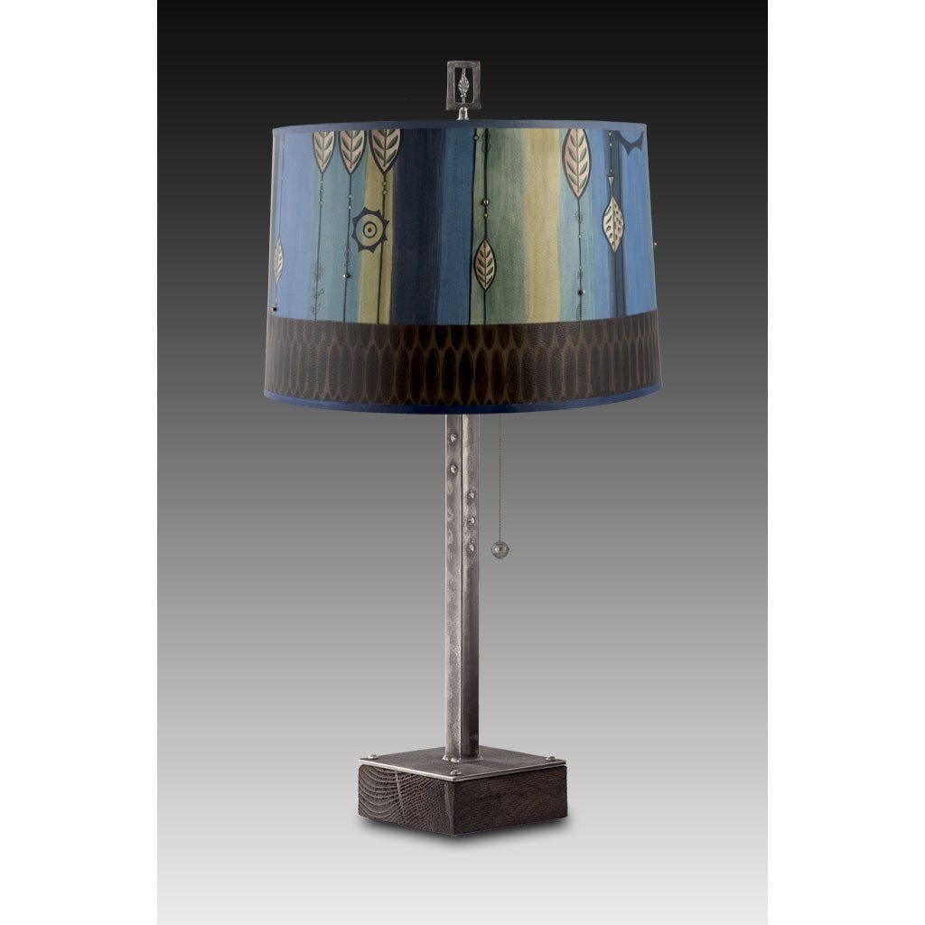 Leaf Stripe Blues Table Lamp with Large Drum Shade