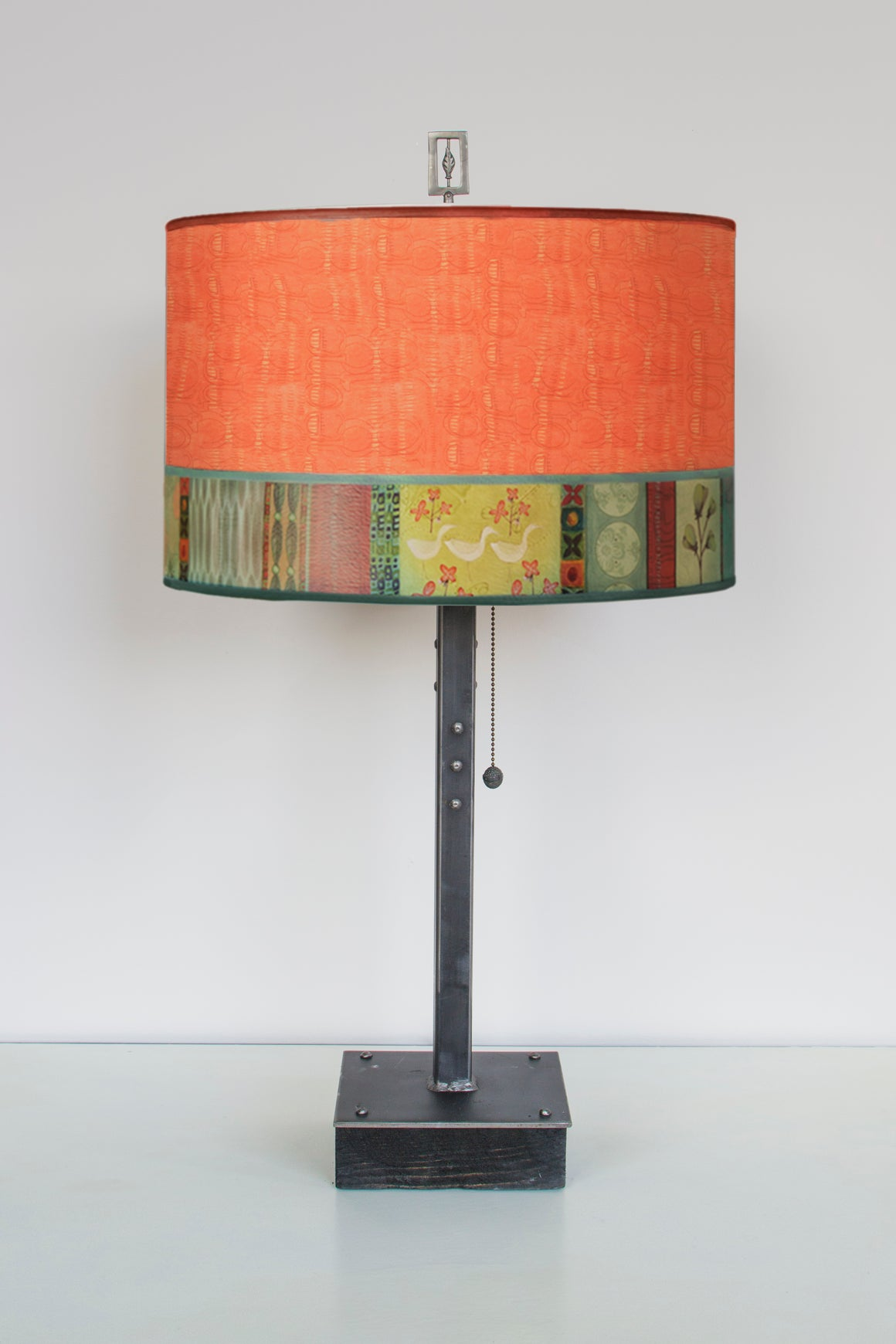 Steel Table Lamp on Wood with Large Drum Shade in Melody in Coral