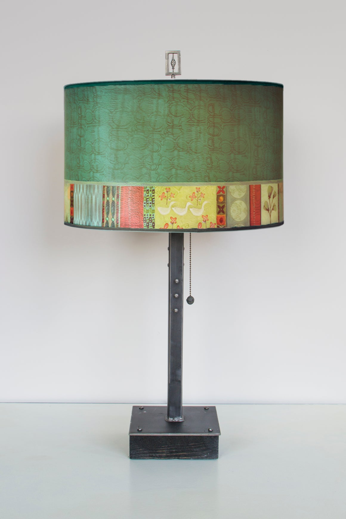 Steel Table Lamp on Wood with Large Drum Shade in Melody in Jade