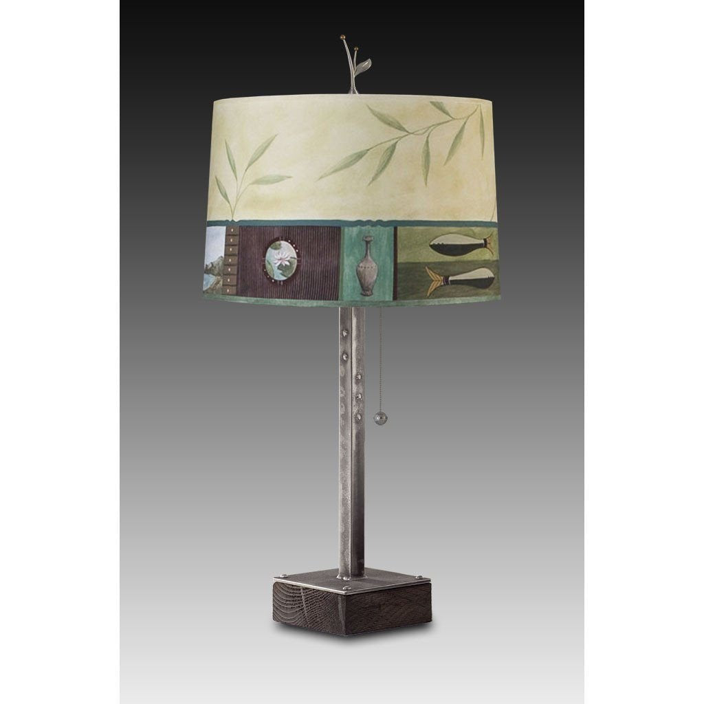 Twin Fish in Celery Table Lamp with Large Drum Shade