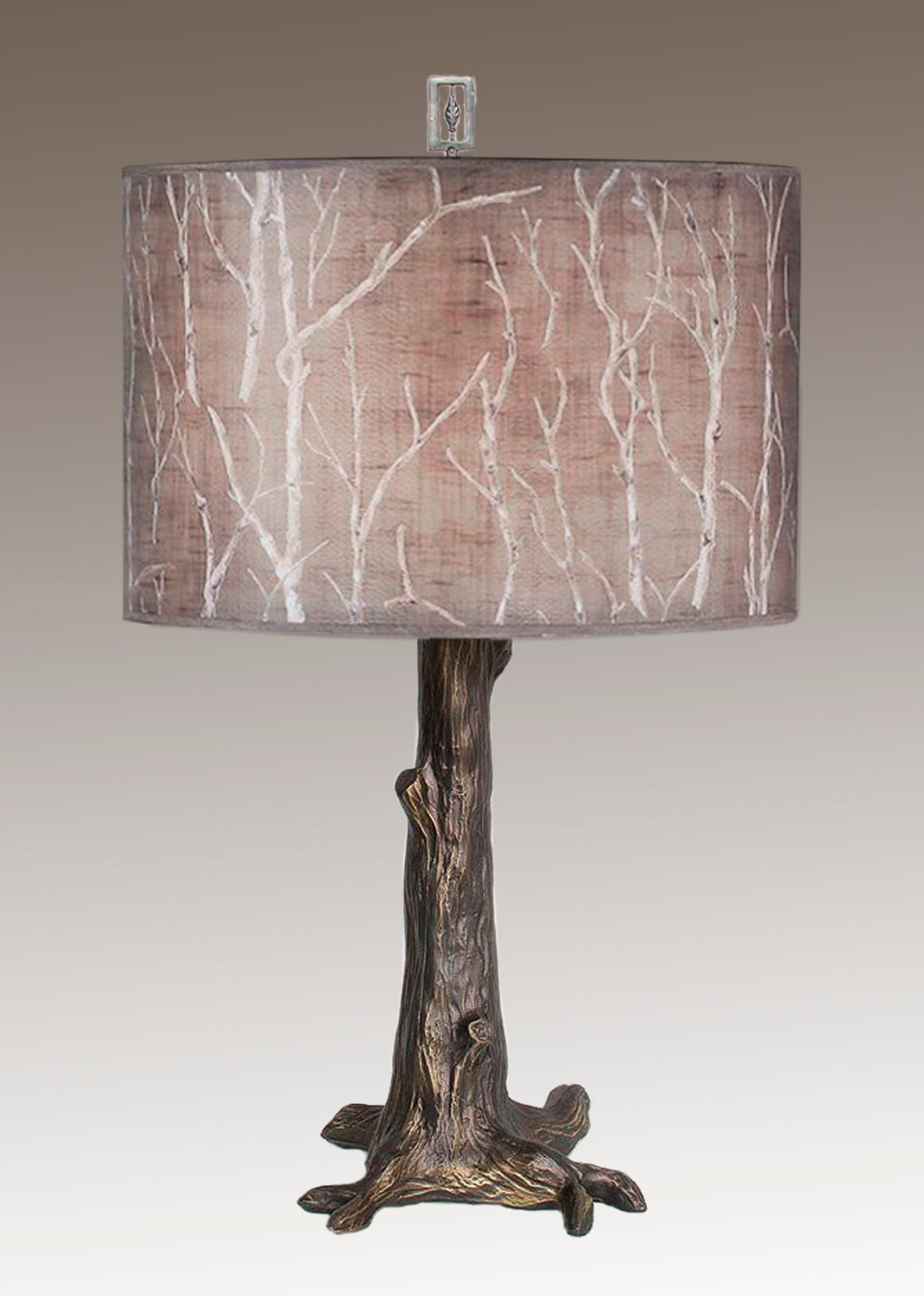 Bronze Tree Table Lamp with Large Drum Shade in Twigs