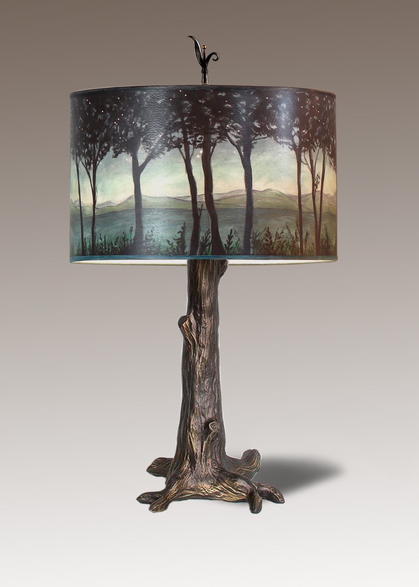 Bronze Tree Table Lamp With Large Drum Shade In Twilight Janna Ugone Co Wholesale