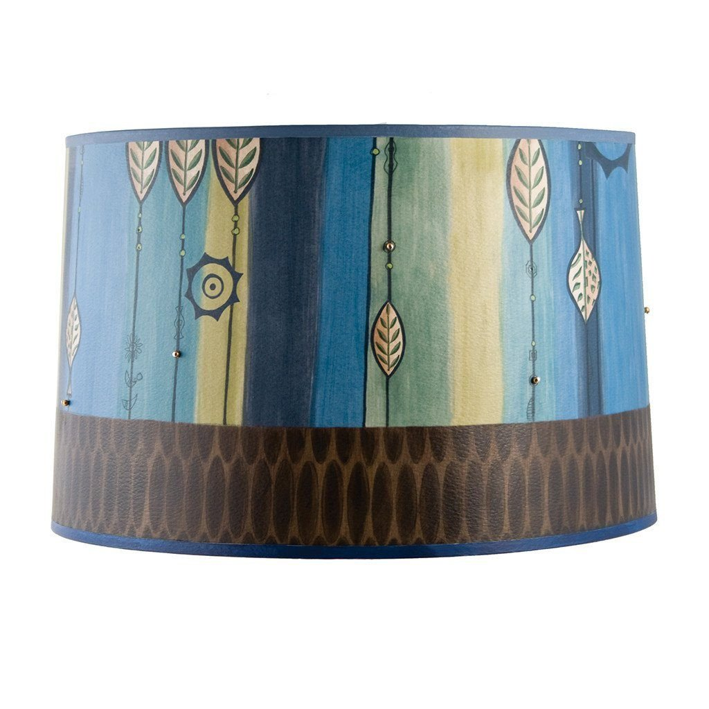 Leaf Stripe Blue Large Drum Lamp Shade