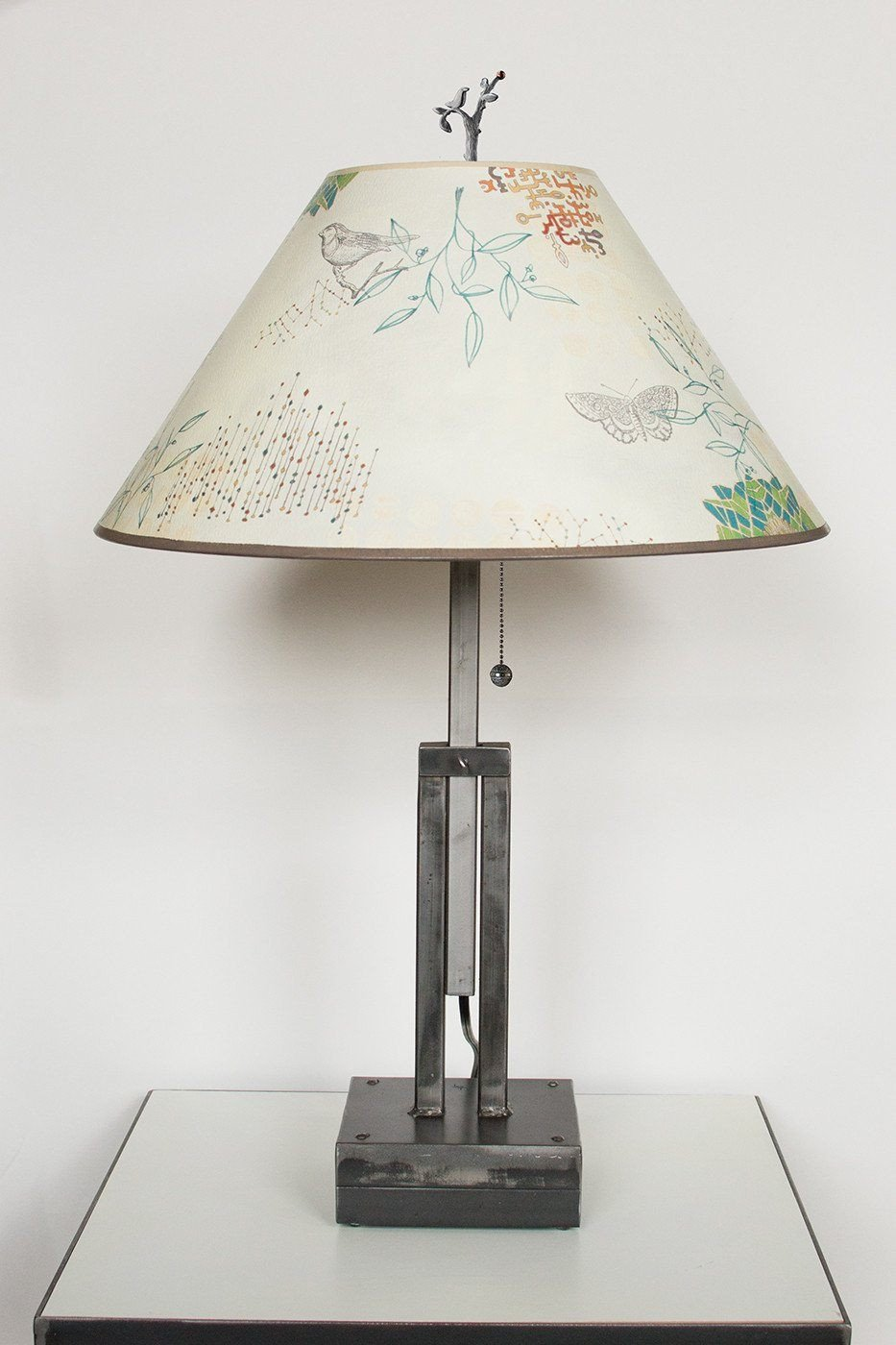 Adjustable-Height Steel Table Lamp with Large Conical Shade in Ecru Journey