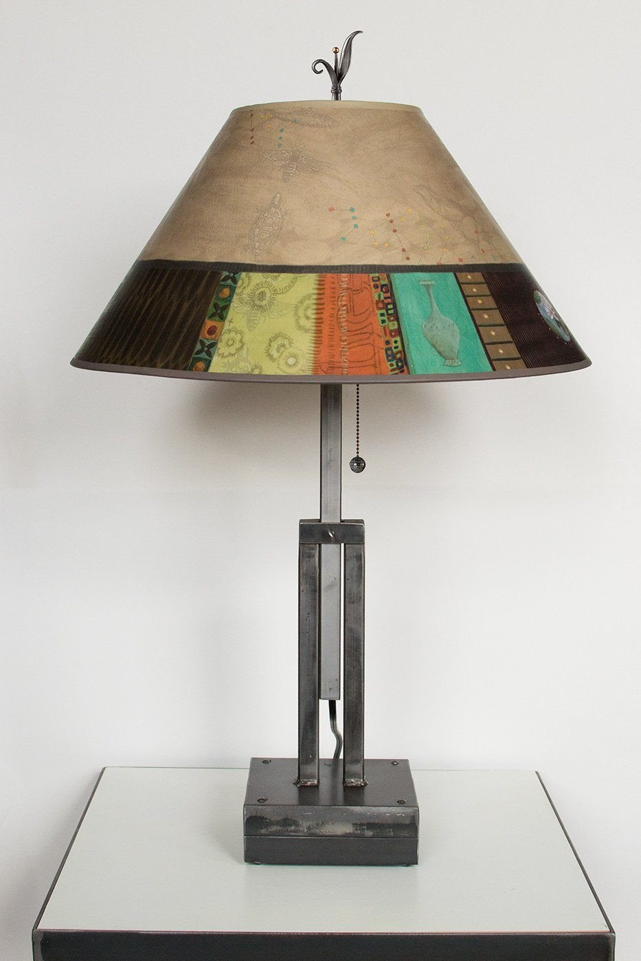 Adjustable-Height Steel Table Lamp with Large Conical Shade in Linen Match