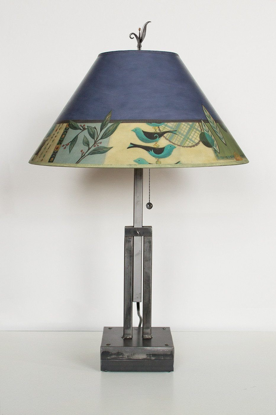 Adjustable-Height Steel Table Lamp with Large Conical Shade in New Capri Periwinkle