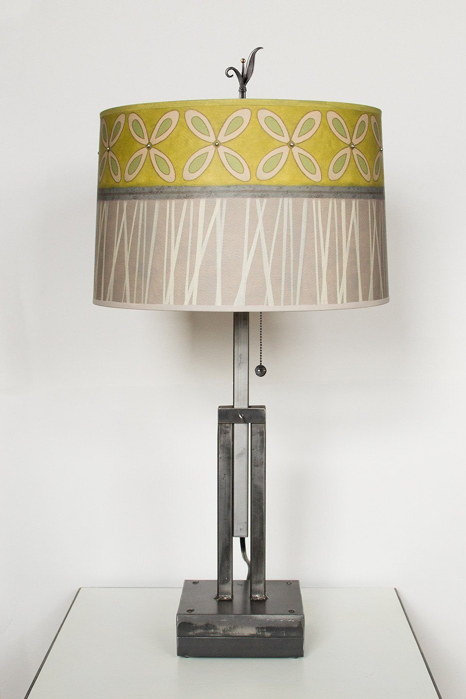 Adjustable-Height Steel Table Lamp with Large Drum Shade in Kiwi
