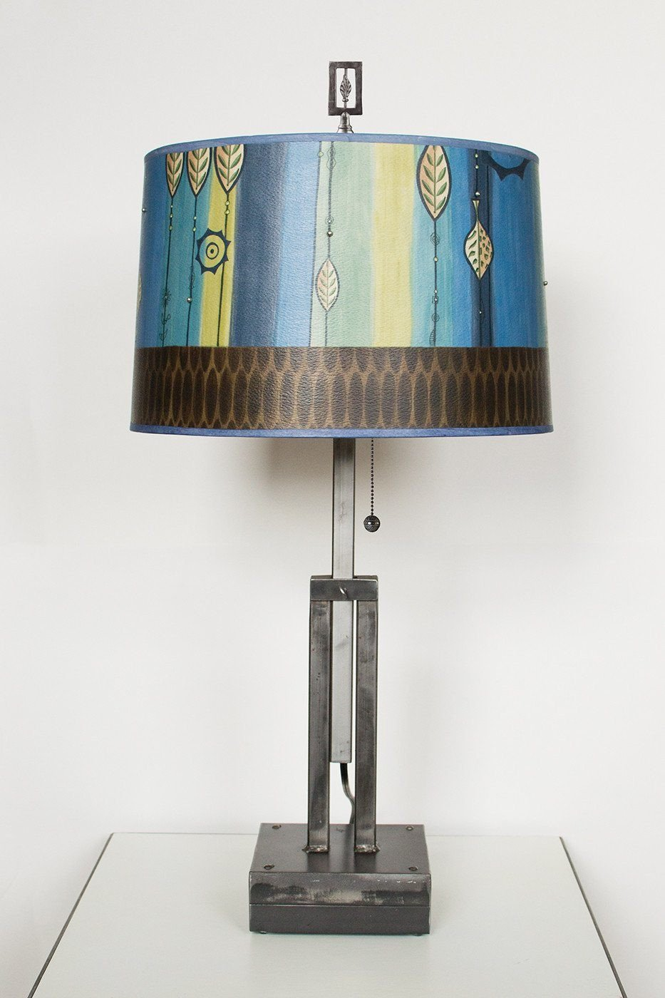 Adjustable-Height Steel Table Lamp with Large Drum Shade in Leaf Stripe Blues