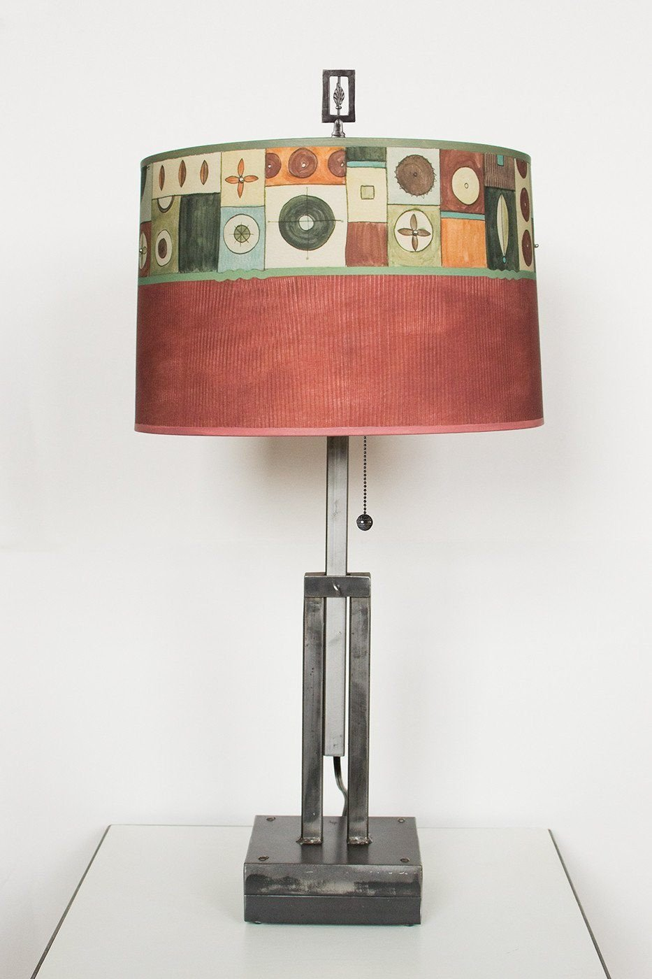 Adjustable-Height Steel Table Lamp with Large Drum Shade  in Lucky Mosaic Maroon
