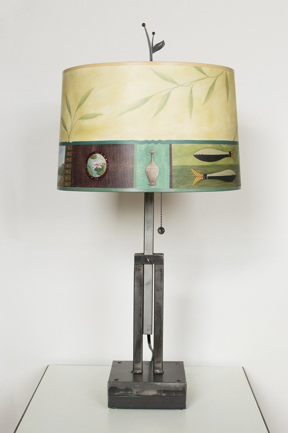 Adjustable-Height Steel Table Lamp with Large Drum Shade in Twin Fish