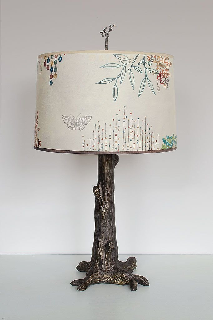 Bronze Tree Table Lamp with Large Drum Shade in Ecru Journey