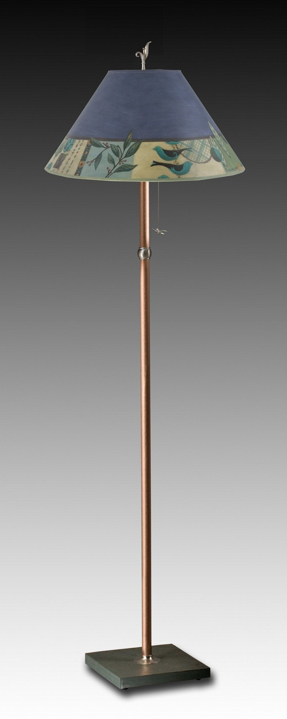 Copper Floor Lamp on Vermont Slate Base with Large Conical Shade in New Capri Periwinkle