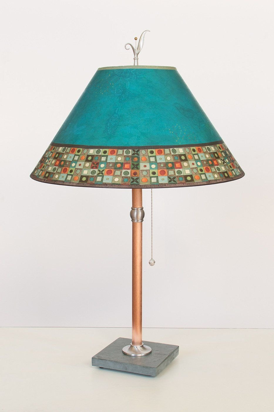 Copper Table Lamp on Vermont Slate with Large Conical Shade in Jade Mosaic