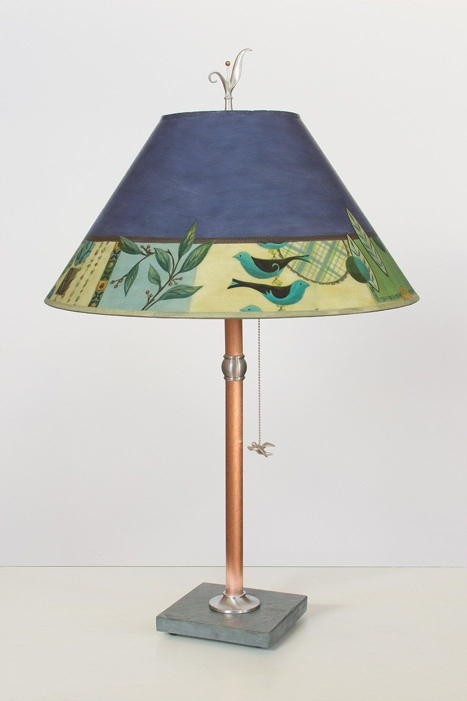 Copper Table Lamp on Vermont Slate with Large Conical Shade in New Capri Periwinkle