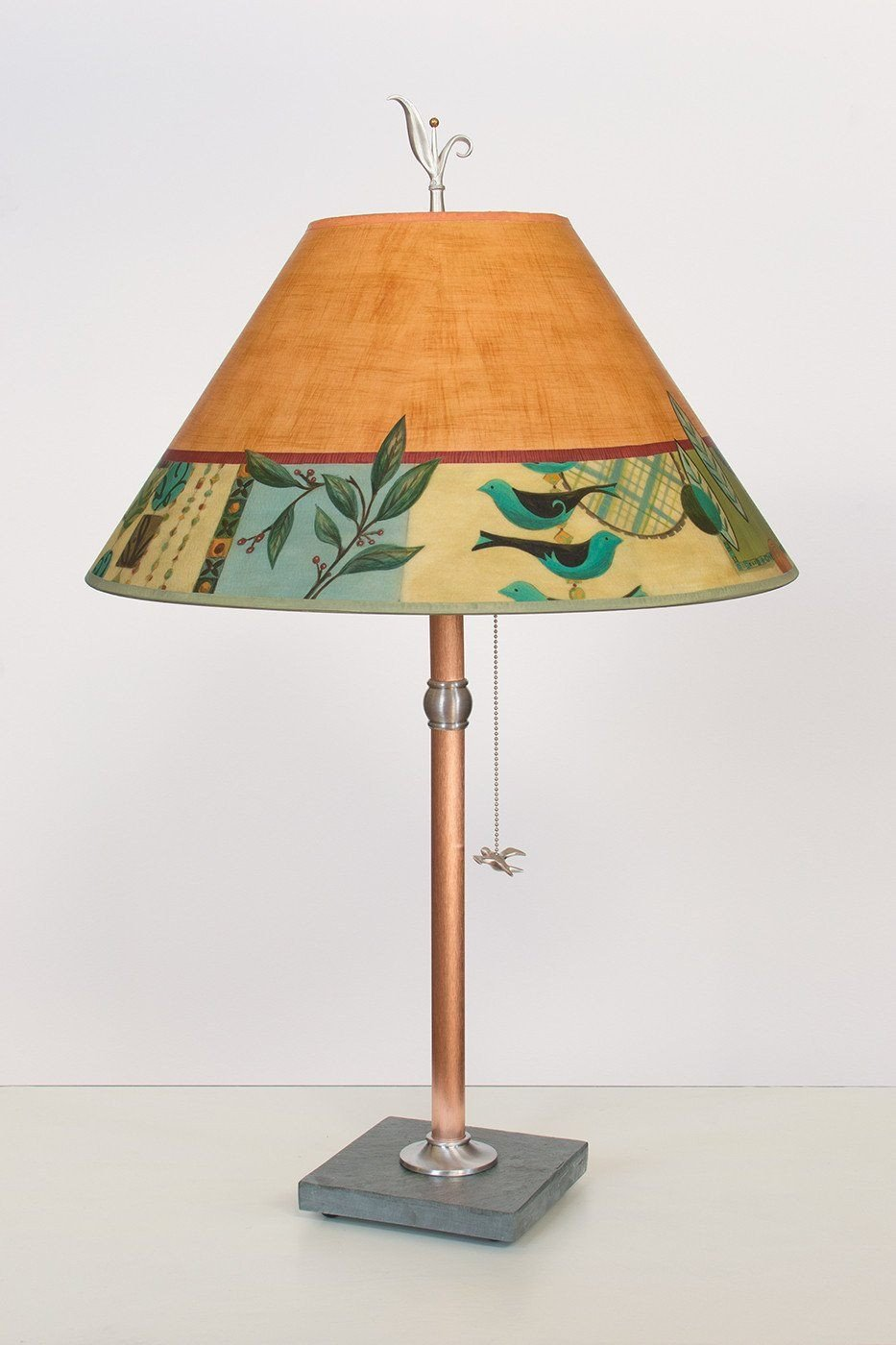 Copper Table Lamp on Vermont Slate with Large Conical Shade in New Capri Spice