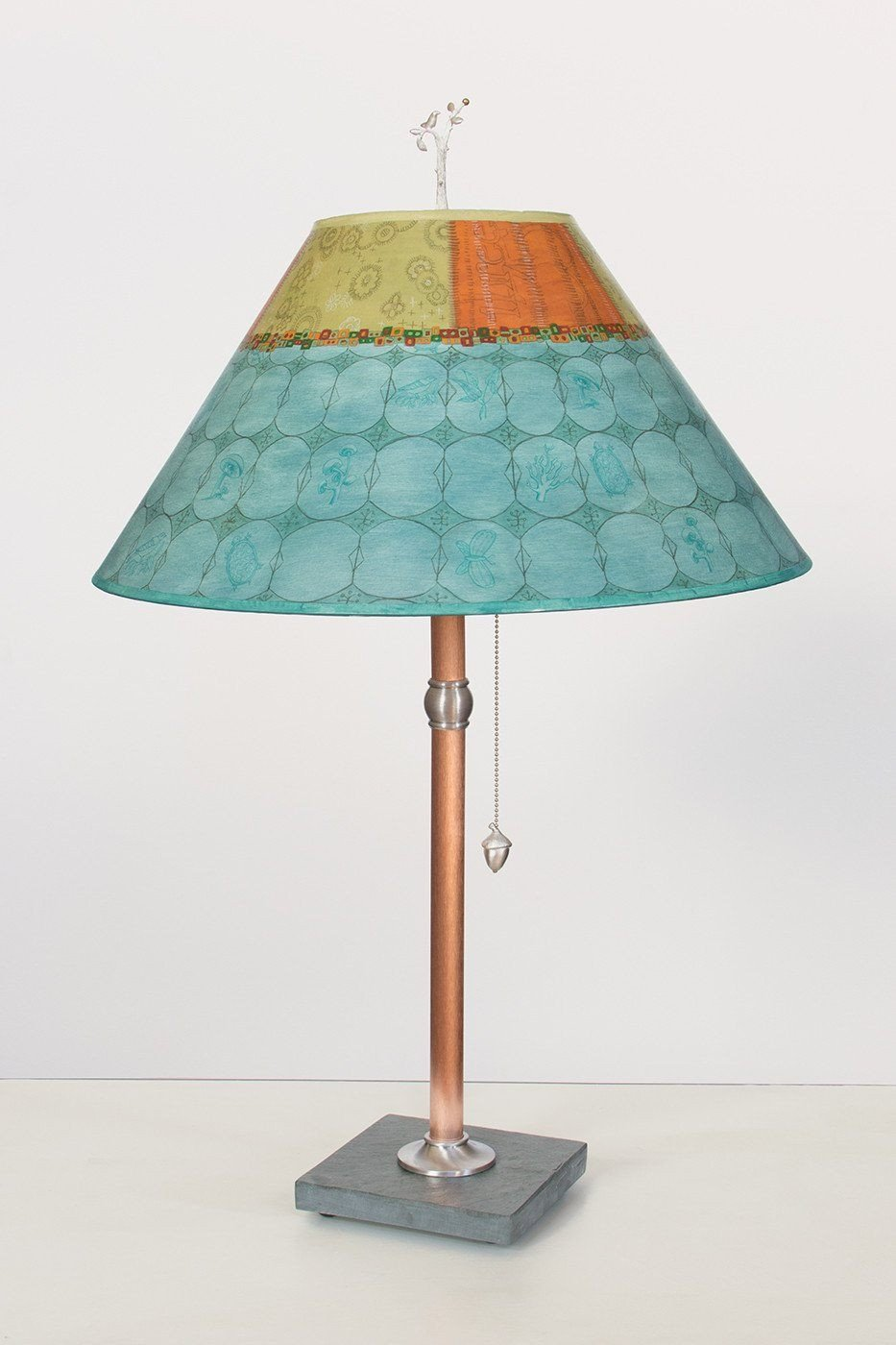 Copper Table Lamp on Vermont Slate with Large Conical Shade in Paradise Pool