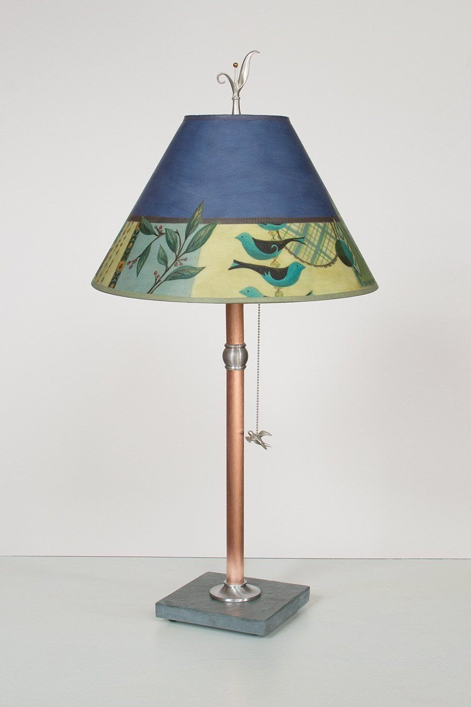 Copper Table Lamp with Medium Conical Shade in New Capri Periwinkle - Lit