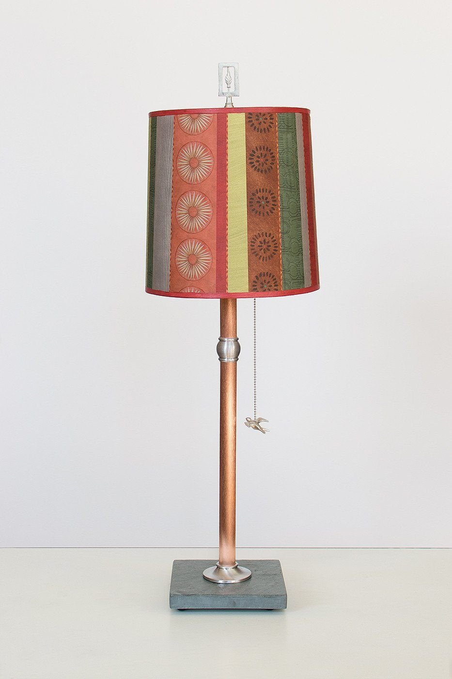 Copper Table Lamp with Medium Drum Shade in Modern Serape