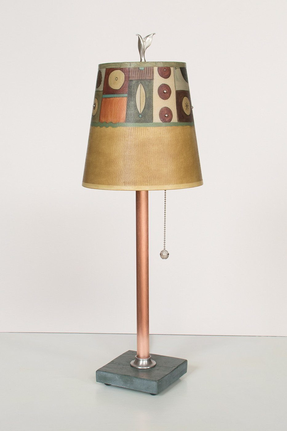 Copper Table Lamp on Vermont Slate Base with Small Drum Shade in Lucky Mosaic Hickory Lit