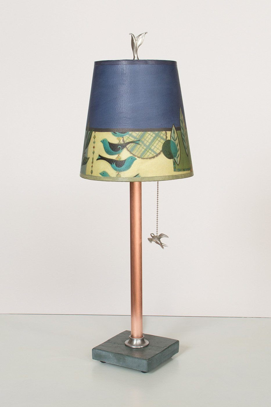 Copper Table Lamp on Vermont Slate Base with Small Drum Shade in New Capri Periwinkle Lit