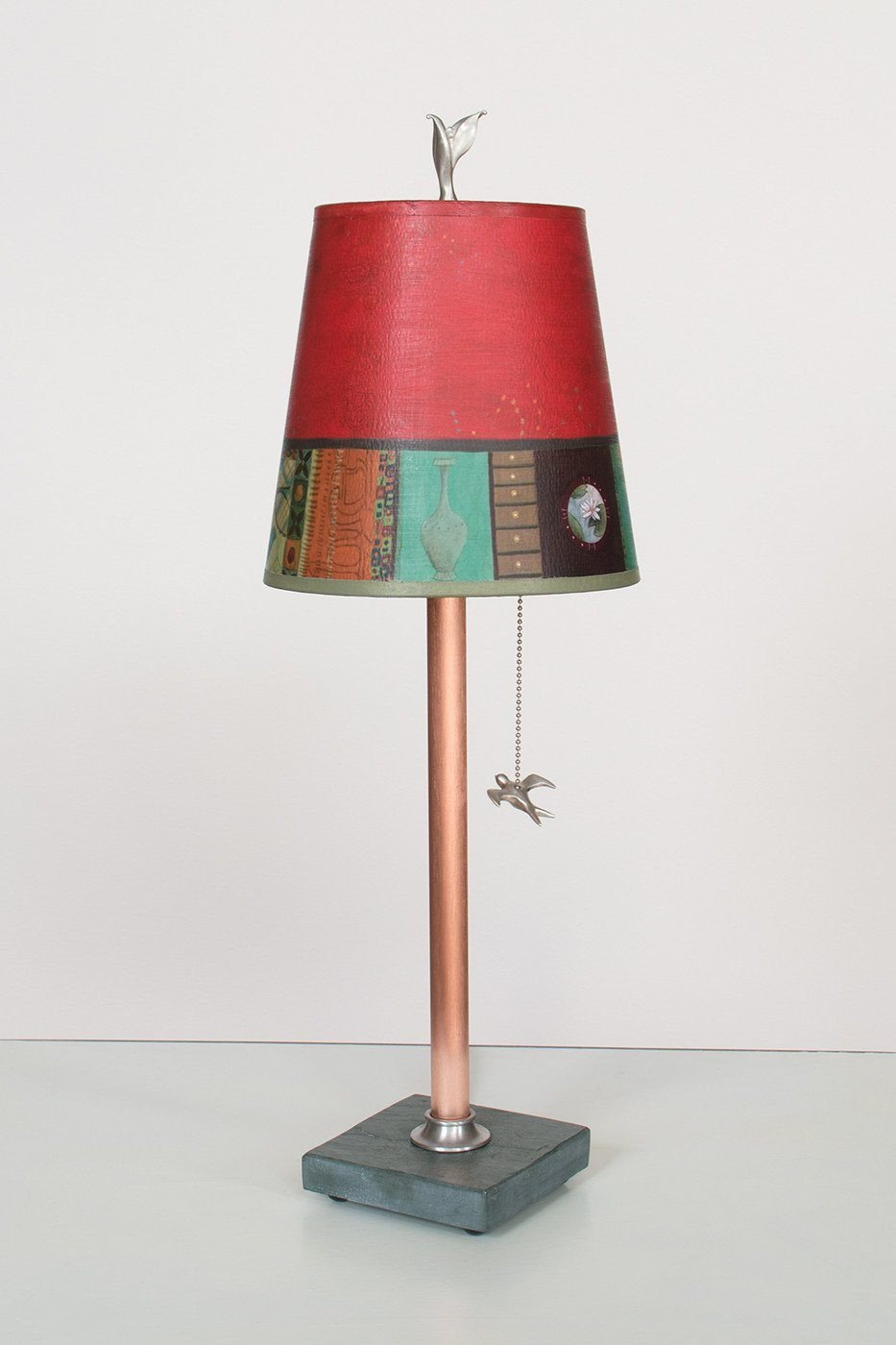 Copper Table Lamp on Vermont Slate Base with Small Drum Shade in Red Match Lit