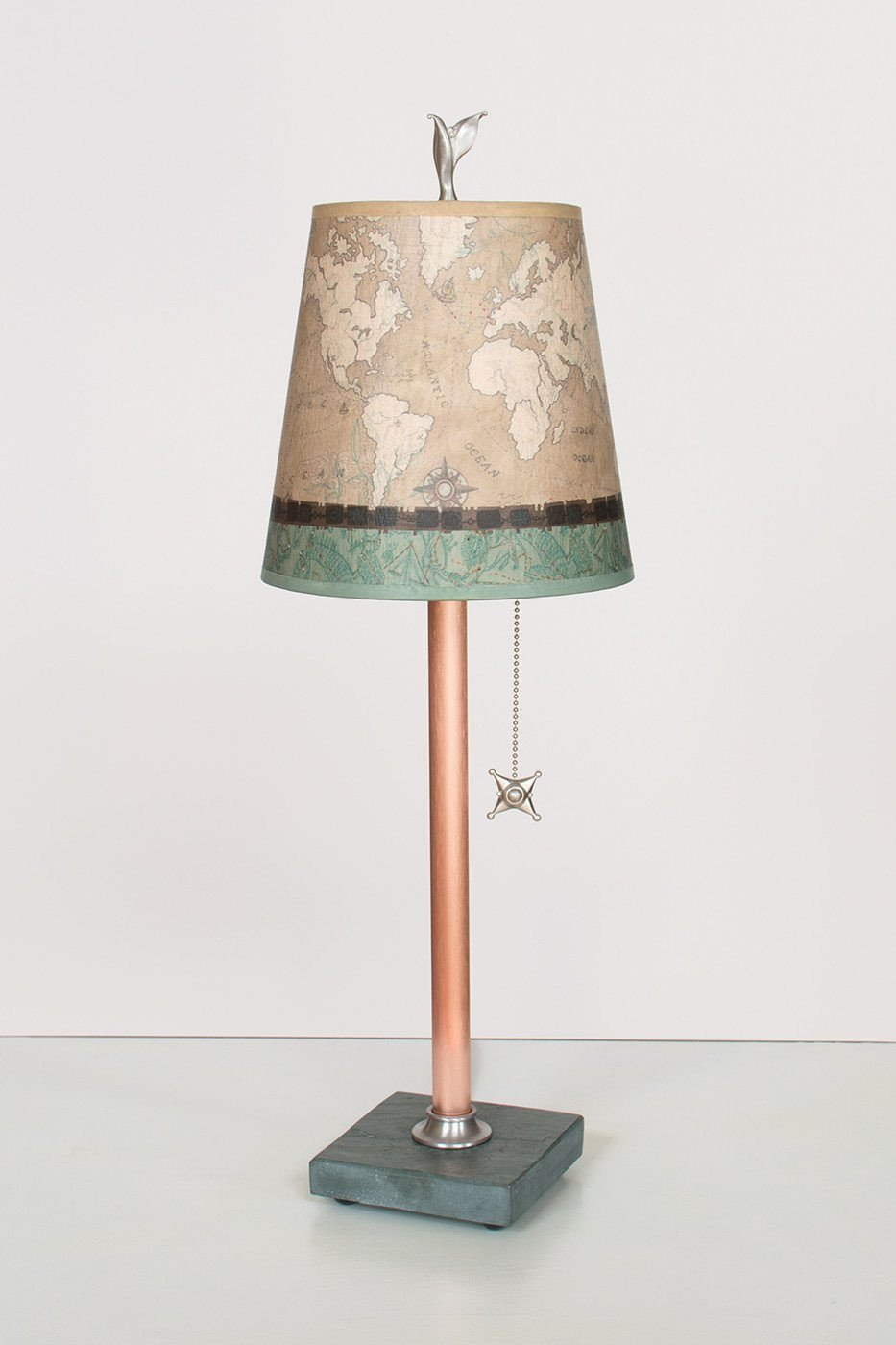 Copper Table Lamp on Vermont Slate Base with Small Drum Shade in Sand Map Lit