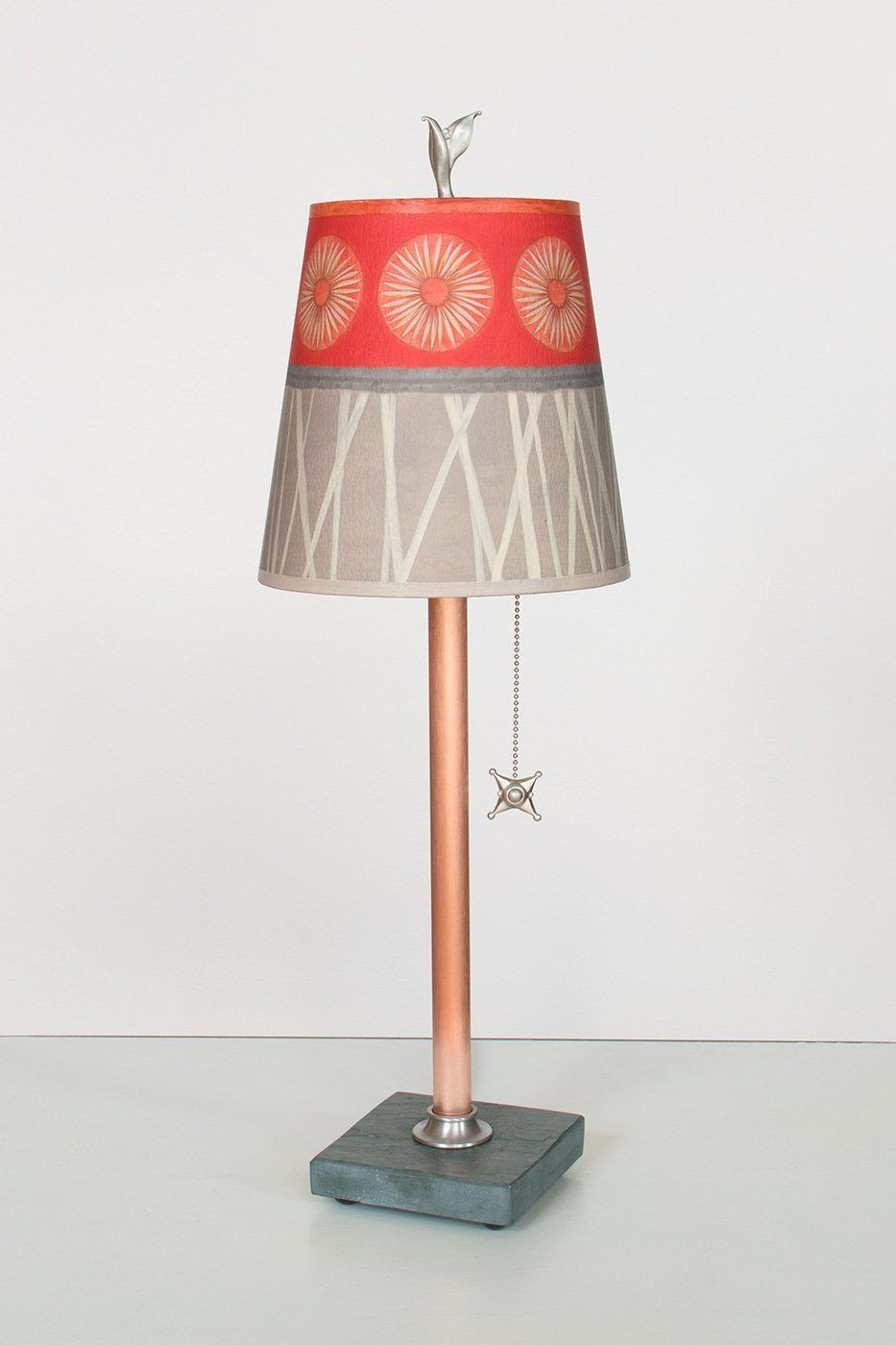 Copper Table Lamp on Vermont Slate Base with Small Drum Shade in Tang Lit