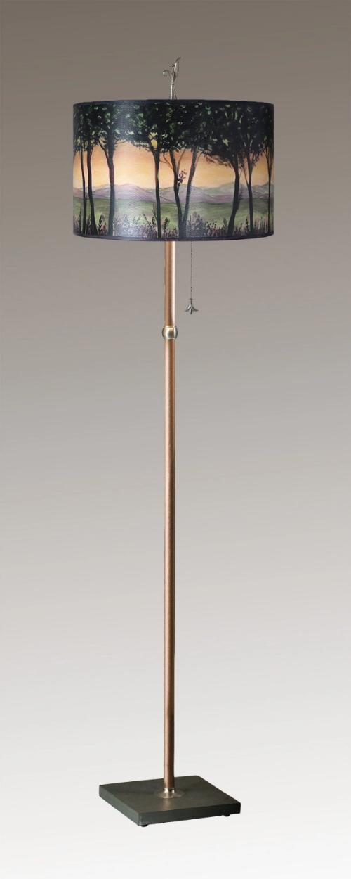Copper Floor Lamp on Vermont Slate Base with Large Conical Shade in Dawn