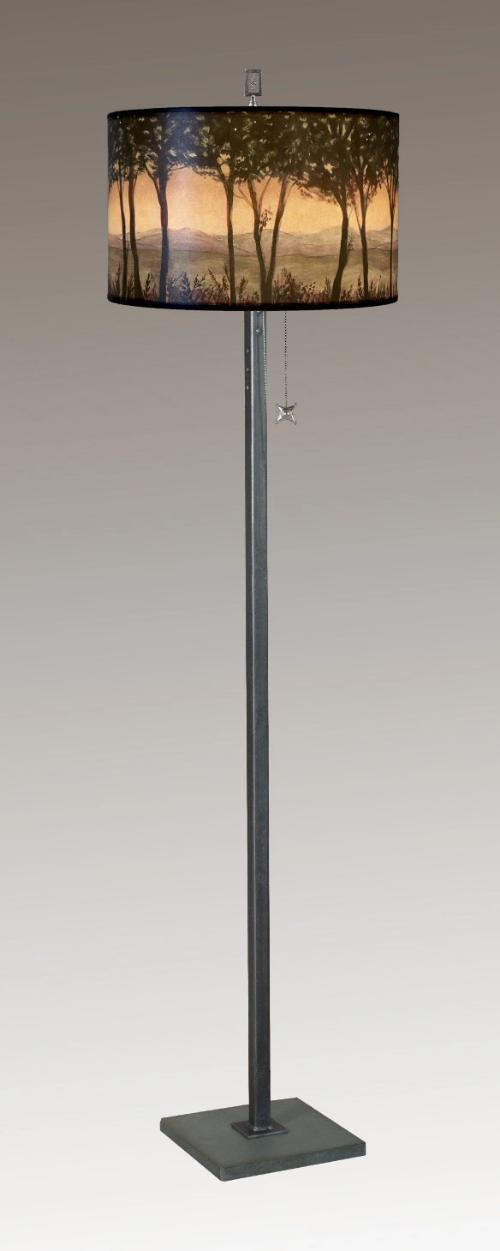 Steel Floor Lamp on Italian Marble with Large Drum Shade in Dawn