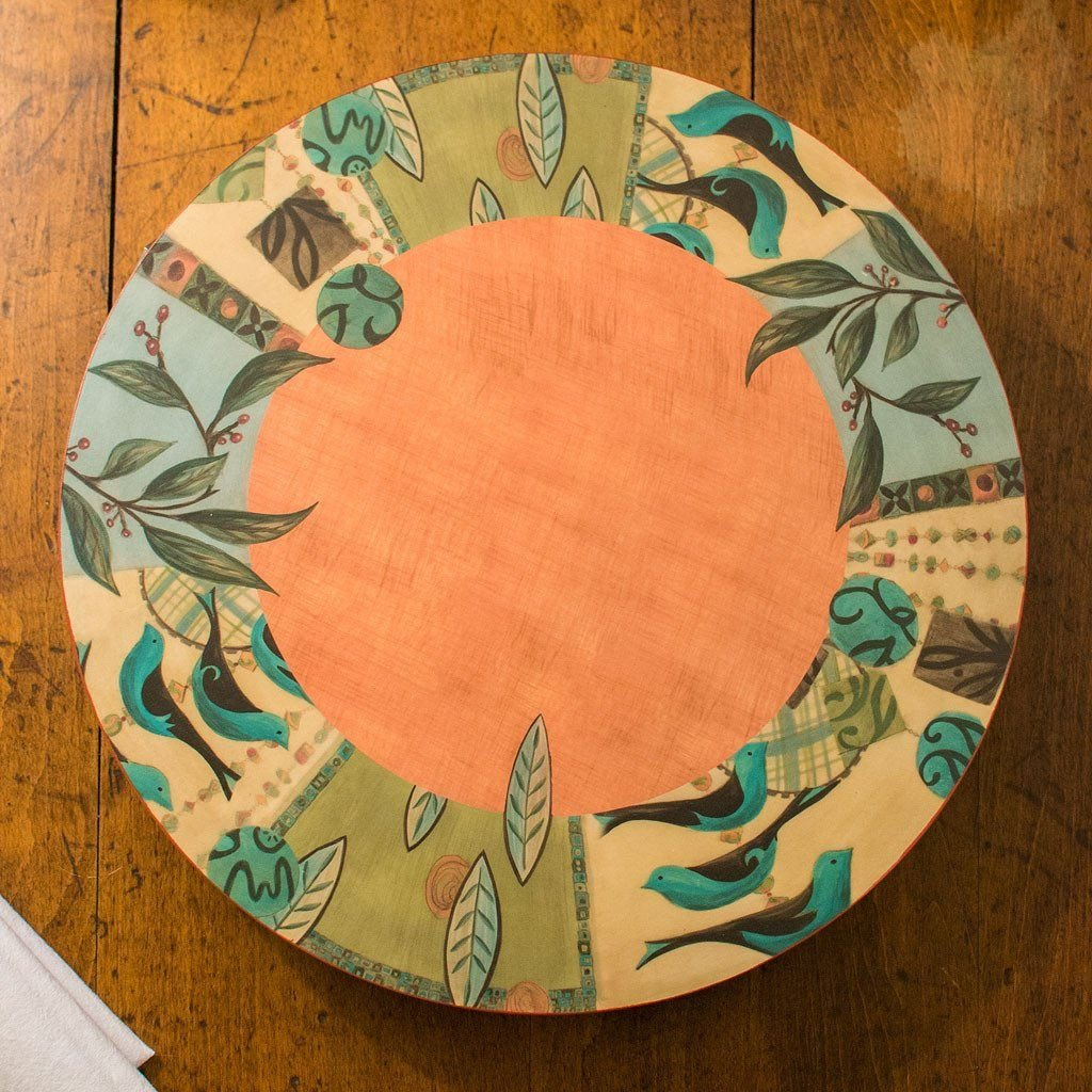 New Capri Spice Lazy Susan on Wood Table - Side View