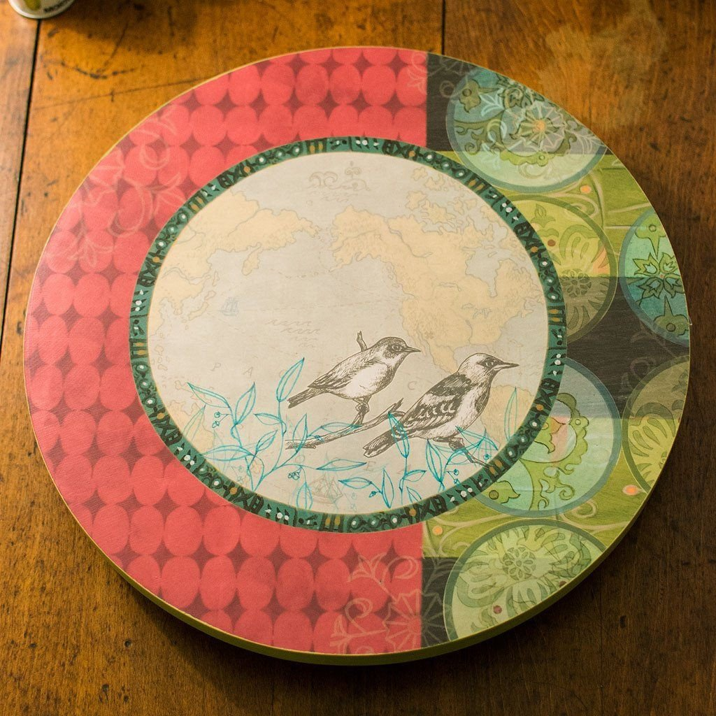 Twin Bird Red Lazy Susan