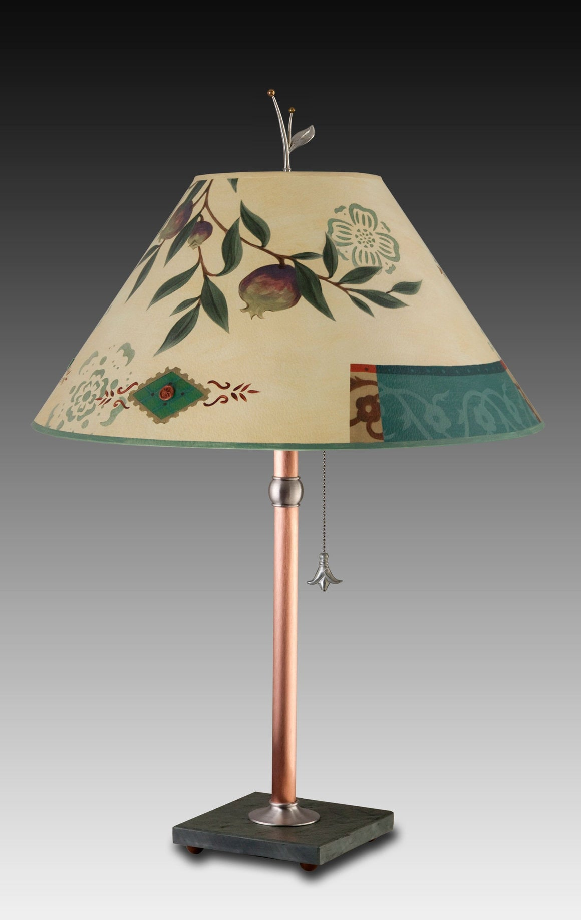 Pomegranate Ribbon Table Lamp with Large Conical Shade