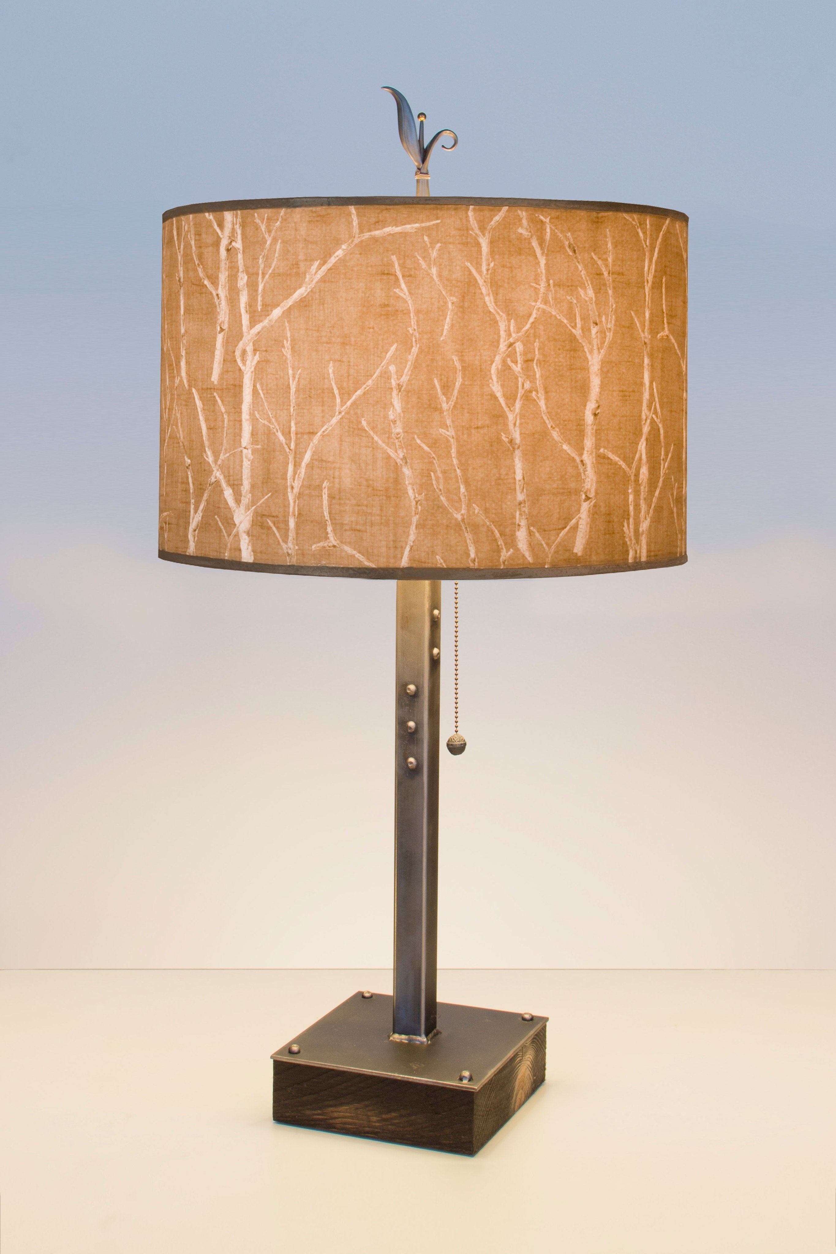 Steel table lamp on wood with large drum shade in flora maze steel table lamp on wood with large drum shade in twigs aloadofball Choice Image