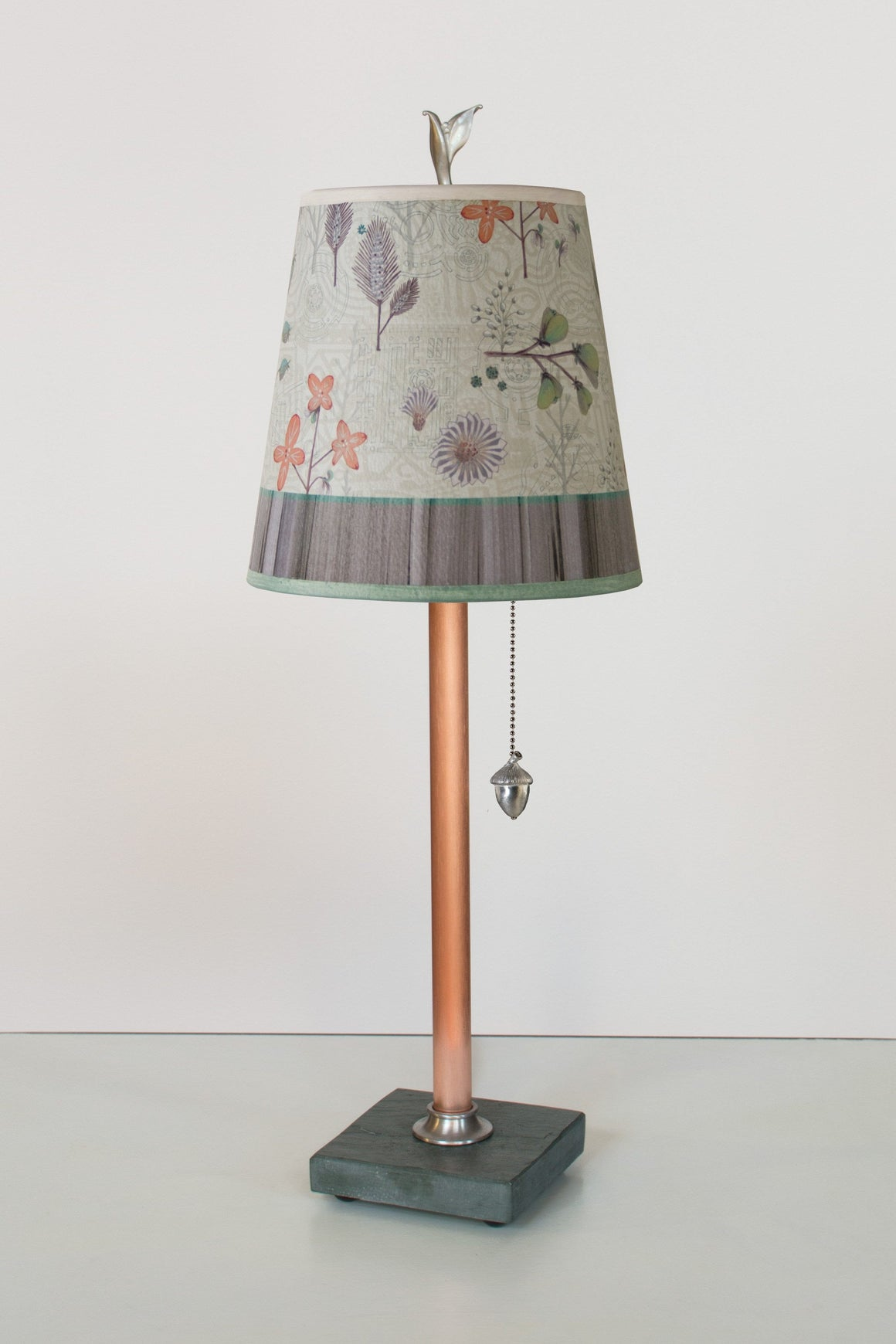 Copper Table Lamp on Vermont  Slate Base with Small Drum Shade in Flora & Maze