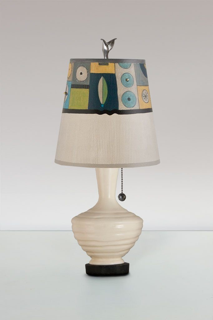 Ivory Ceramic Table Lamp with Small Drum Shade in Lucky Mosaic Oyster