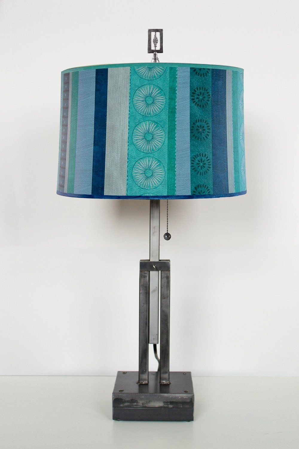 Adjustable-Height Steel Table Lamp with Large Drum Shade in Serape Waters
