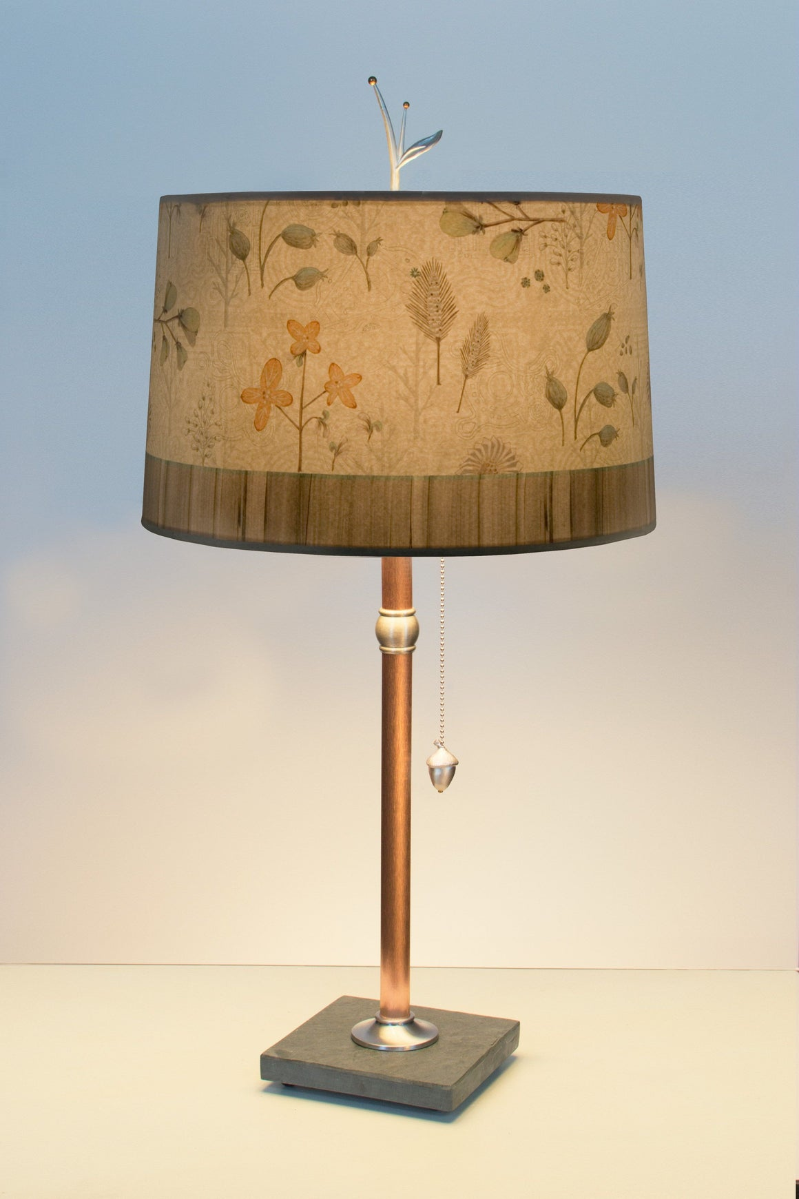 Copper Table Lamp with Large Drum Shade in Flora and Maze