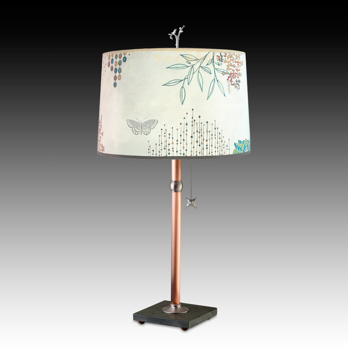 Journeys in Ecru Table Lamp with Large Drum Shade Bedroom View