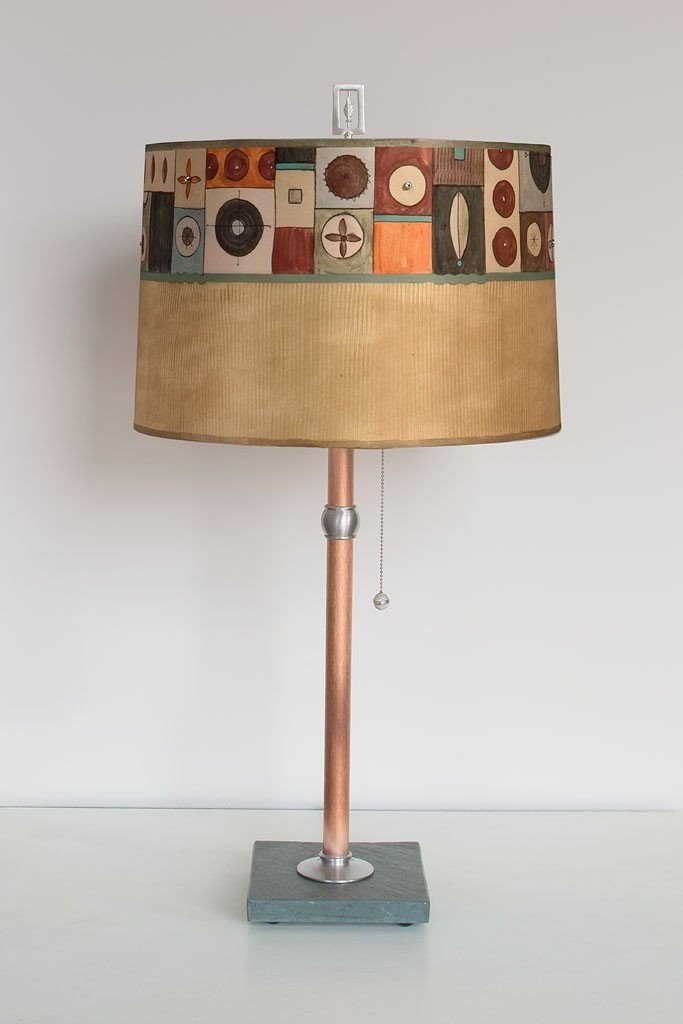 Lucky Mosaic Hickory Table Lamp with Large Drum Shade