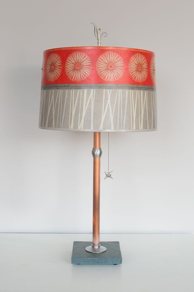 Copper Table Lamp with Large Drum Shade in Tang
