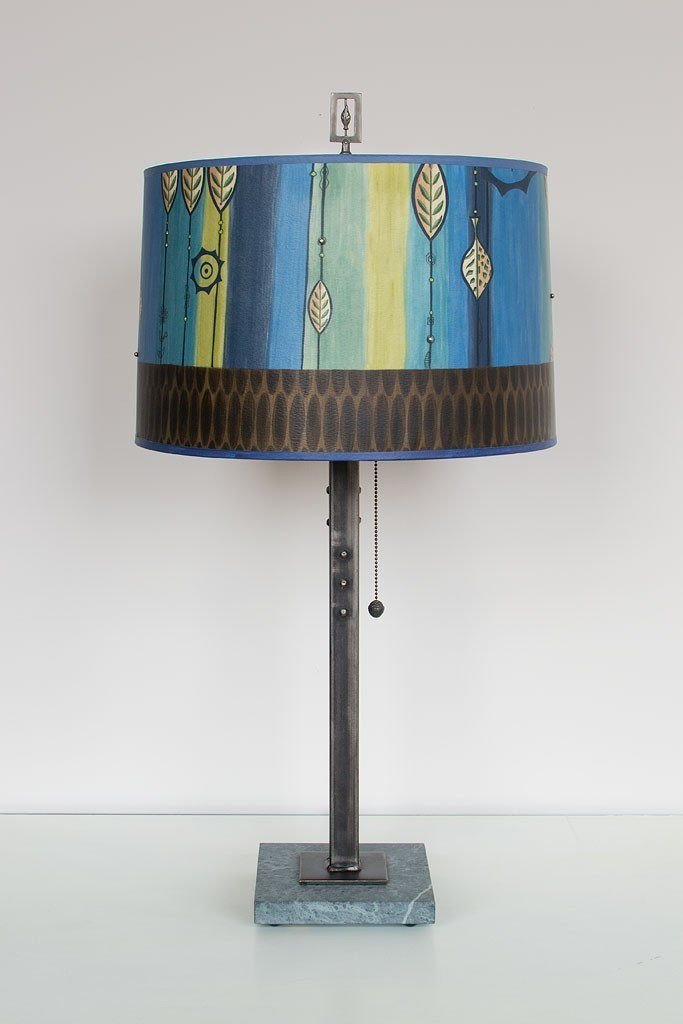 Steel Table Lamp on Marble with Large Drum Shade in Leaf Stripe Blues