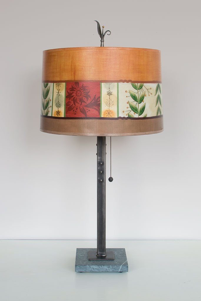 Steel Table Lamp on Marble with Large Drum Shade in Spring Medley Spice