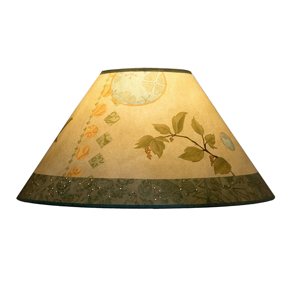 Large Conical Lamp Shade in Celestial Leaf