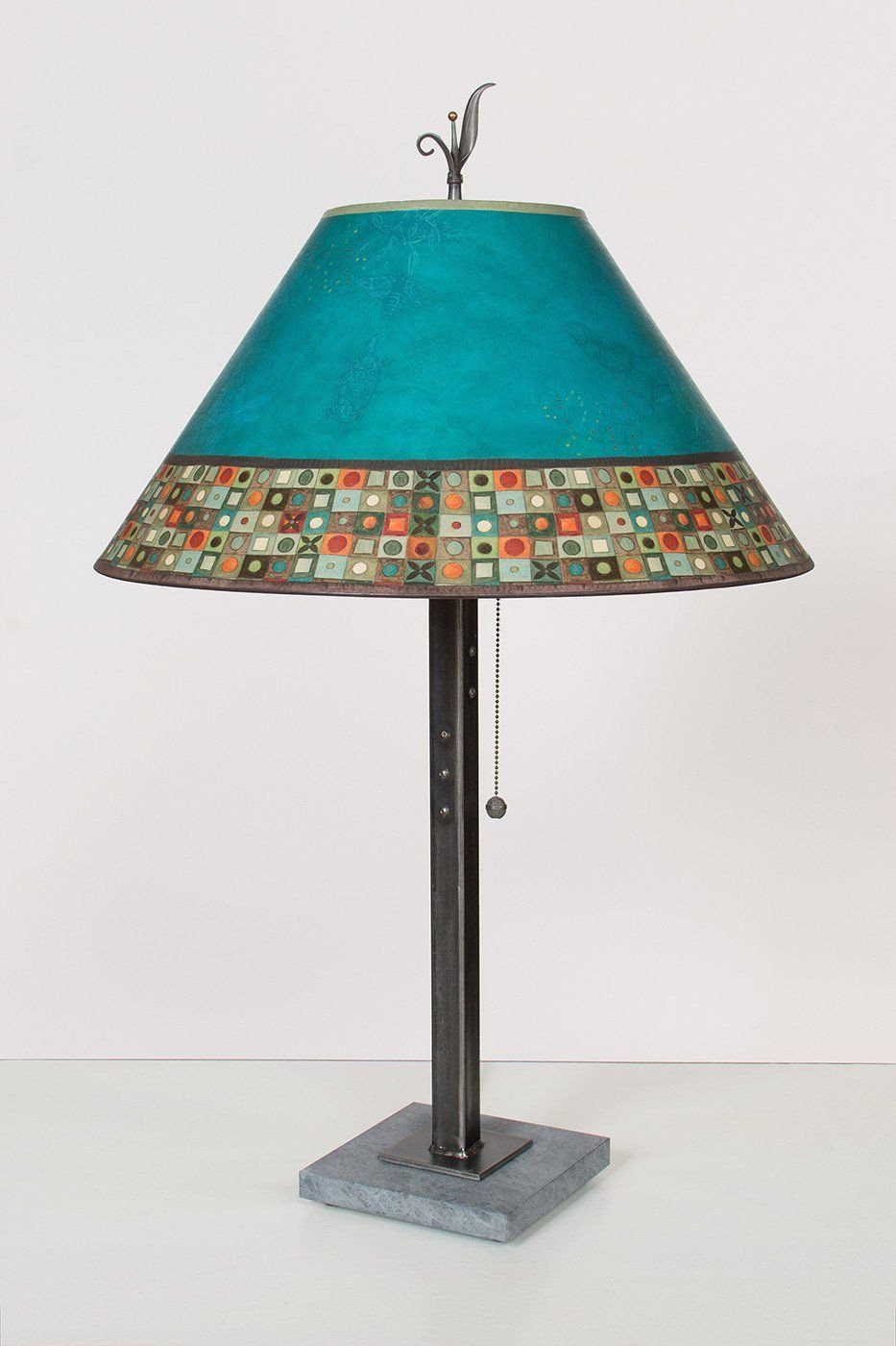 Steel Table Lamp on Italian Marble with Large Conical Shade in Jade Mosaic