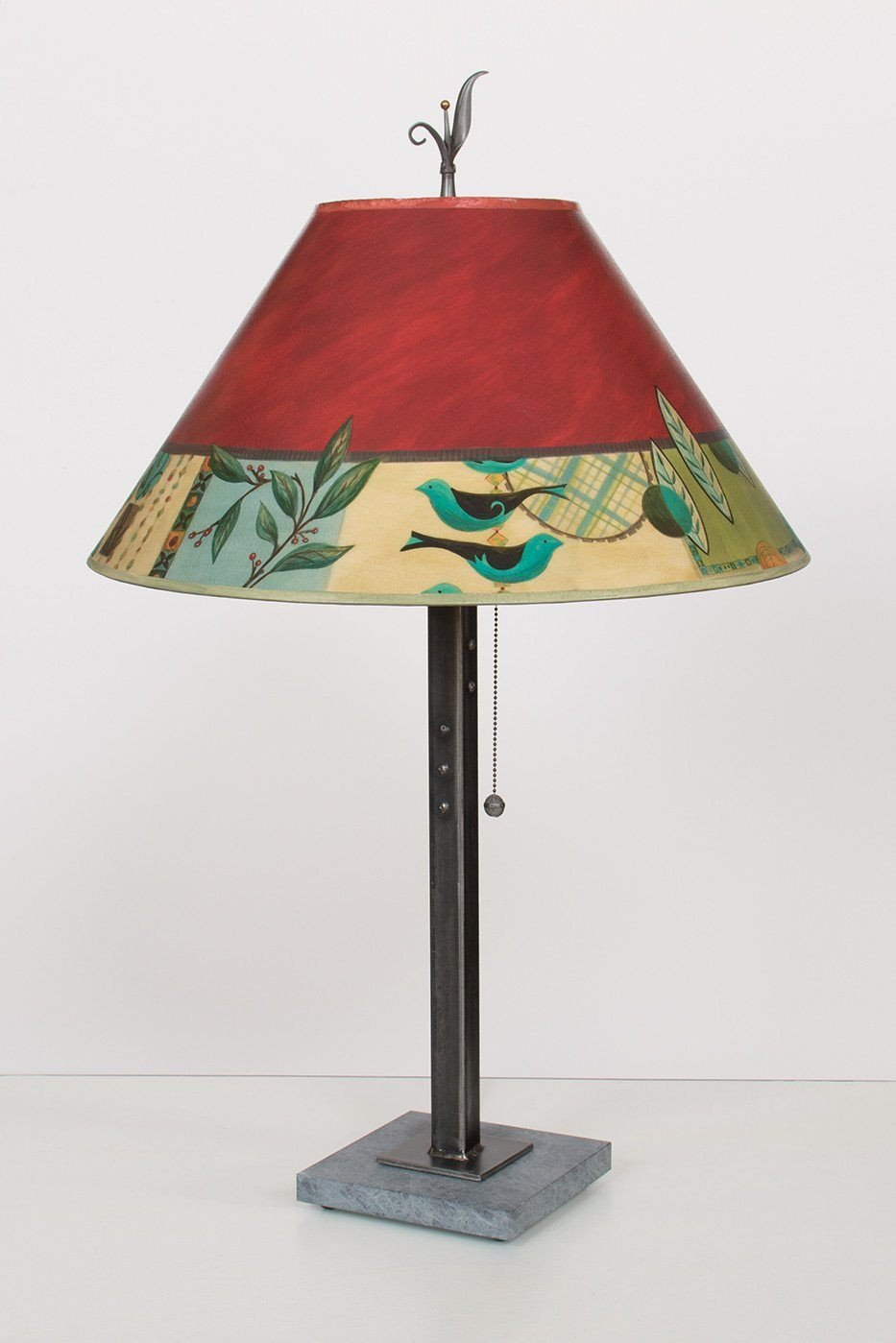 Steel Table Lamp on Italian Marble with Large Conical Shade in New Capri
