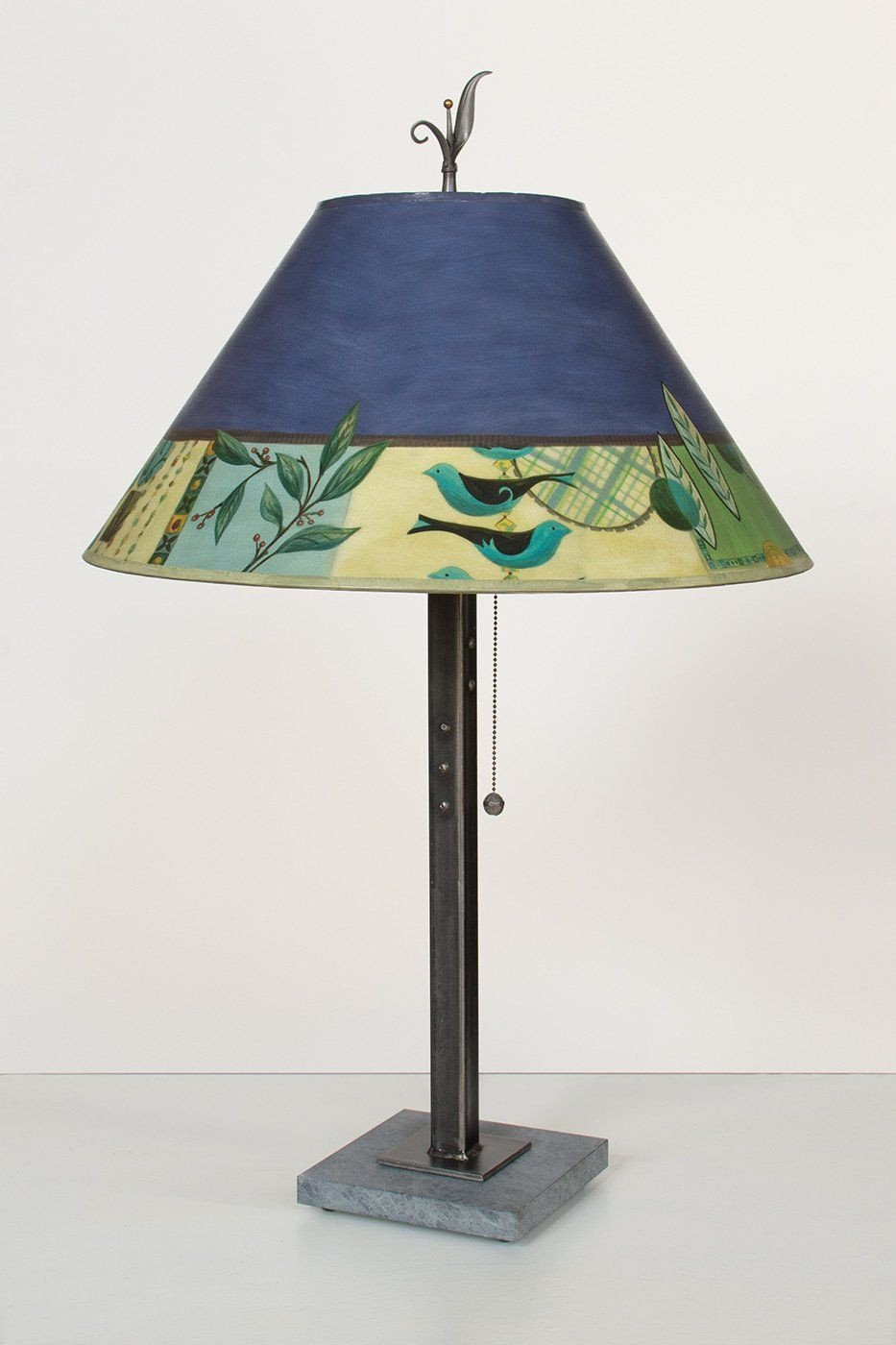 Steel Table Lamp on Italian Marble with Large Conical Shade in New Capri Periwinkle